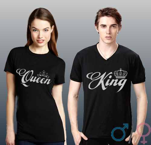 fe0b4446d84 WASD-Shop   Trička pro pár s potiskem King   Queen - WASD - trika a ...
